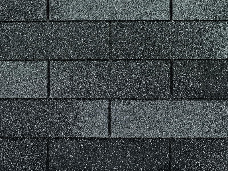 Close up photo of GAF's Royal Sovereign Nickel Gray shingle swatch