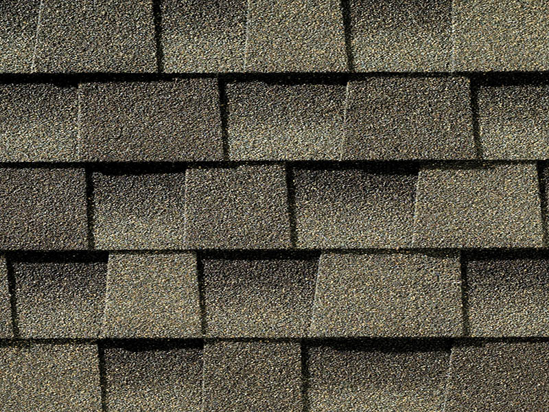 Close up photo of GAF's Timberline Ultra HD Weathered Wood shingle swatch